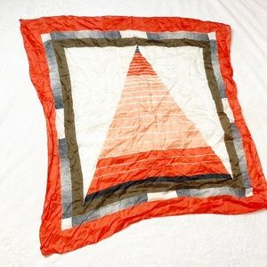 Vintage square silky scarf geometric red green